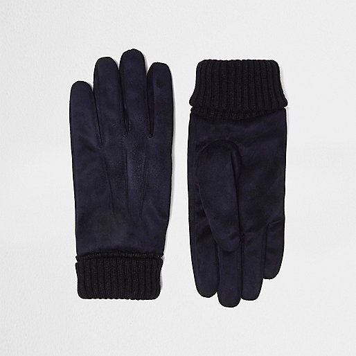 Navy suede cuff knit gloves