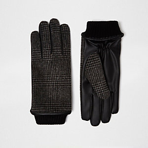 Grey check gloves