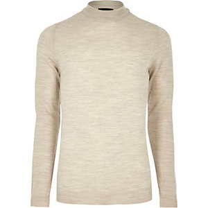 Stone merino wool high neck jumper