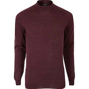 Dark red merino wool high neck sweater