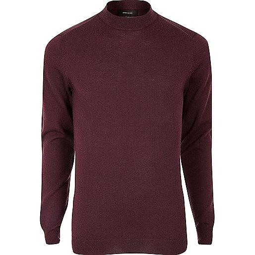 Dark red merino wool high neck sweater