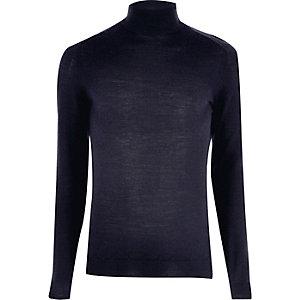 Navy merino wool high neck jumper