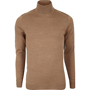Camel merino wool roll neck sweater