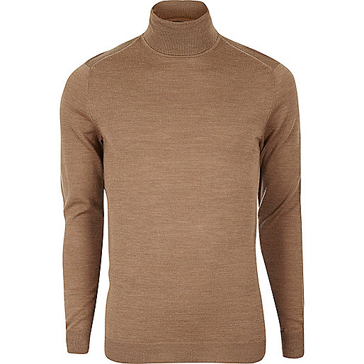 Camel merino wool roll neck sweater