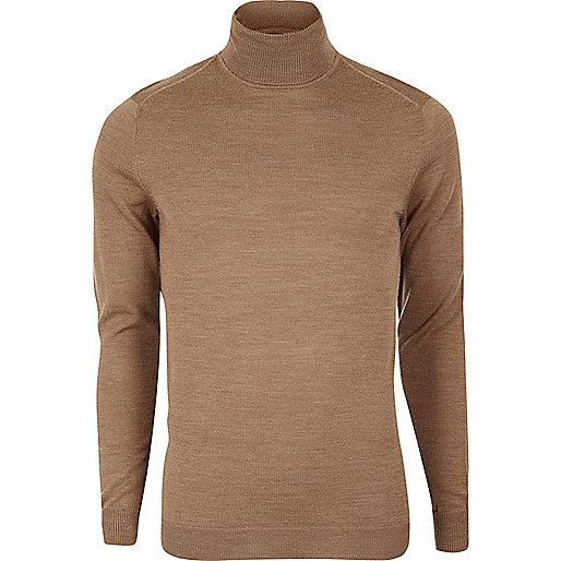 Pull en laine mérinos marron clair à col roulé