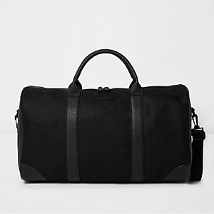 Black panel holdall bag