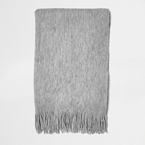 Grey brushed scarf