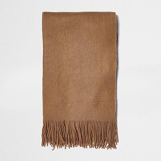 Camel brushed scarf