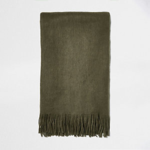 Khaki green brushed scarf