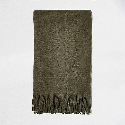 Khaki green brushed scarf