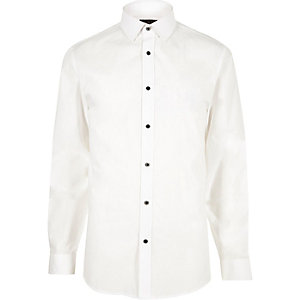 White smart slim fit poplin shirt