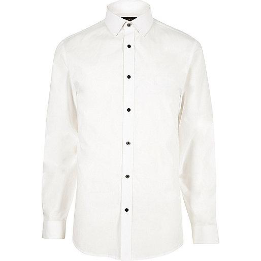 Weißes Slim Fit Popelinhemd