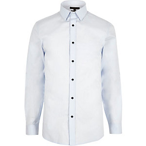 Light blue slim fit poplin shirt