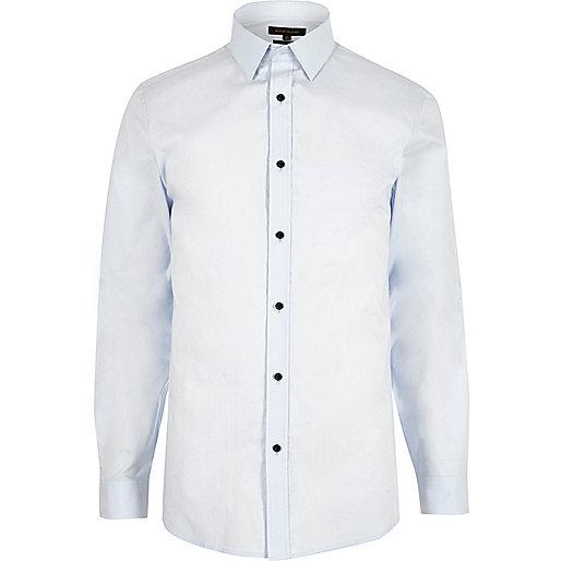 Light blue slim fit poplin shirt