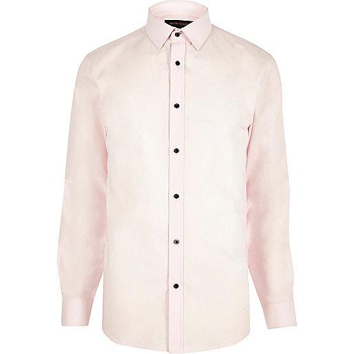 Pink formal slim fit poplin shirt