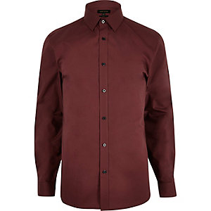 Red smart slim fit poplin shirt