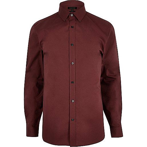 Red smart slim fit poplin shirt