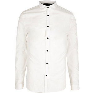White skinny fit poplin shirt