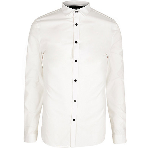 White skinny fit poplin shirt
