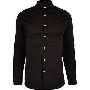 Black formal skinny fit poplin shirt