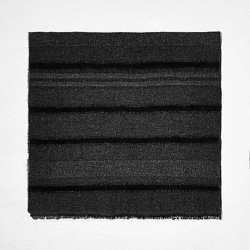 Grey stripe soft scarf