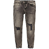 Black paint splattered Sid skinny jeans