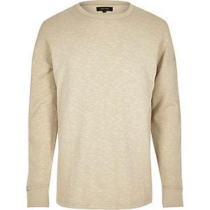 Sweatshirt in Ecru mit fallender Schulterpartie