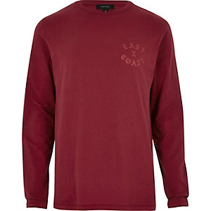 Red 'East Coast' long sleeve T-shirt