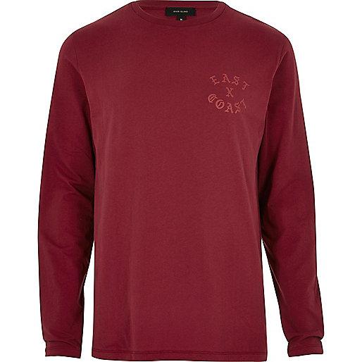 Red 'East Coast' long sleeve T-shirt