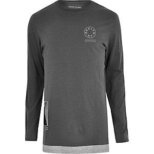 T-shirt long imprimé Brooklyn gris à manches longues