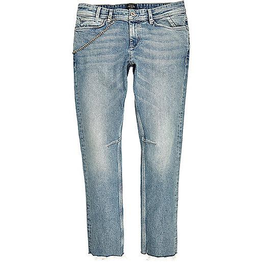 Sid – Skinny Jeans in heller Waschung mit Ketten