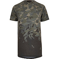 Dark green faded camo longline T-shirt