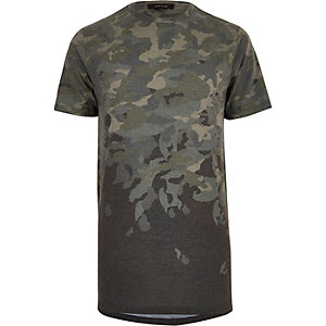 Dark green faded camo longline T-shirt