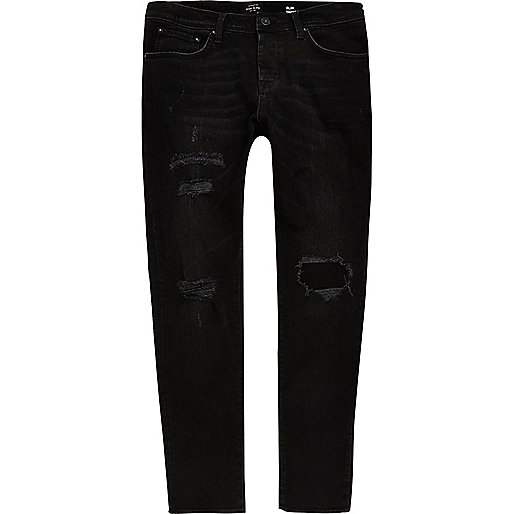 Black ripped Jimmy slim tapered jeans