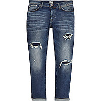 Dark blue ripped Jimmy slim tapered jeans
