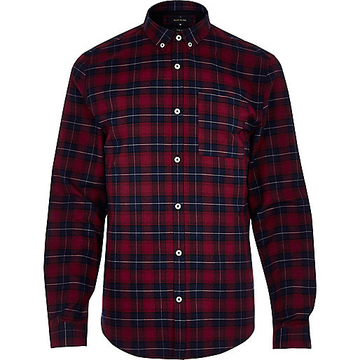Red casual check slim fit shirt