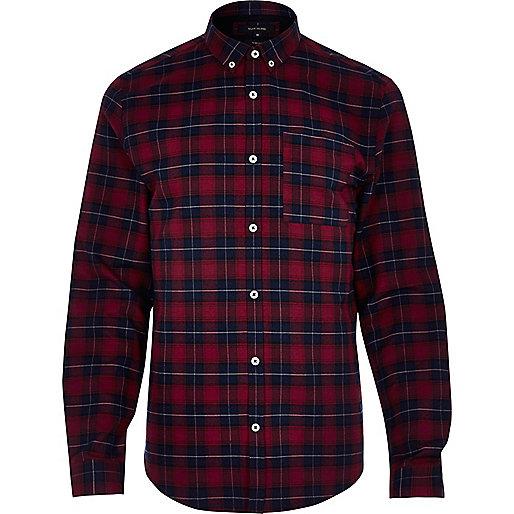 Chemise à carreaux rouge casual cintrée