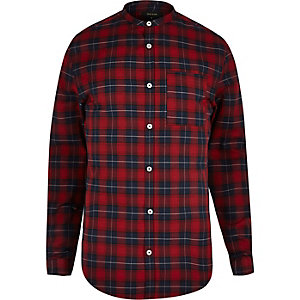 Red slim fit grandad collar check shirt