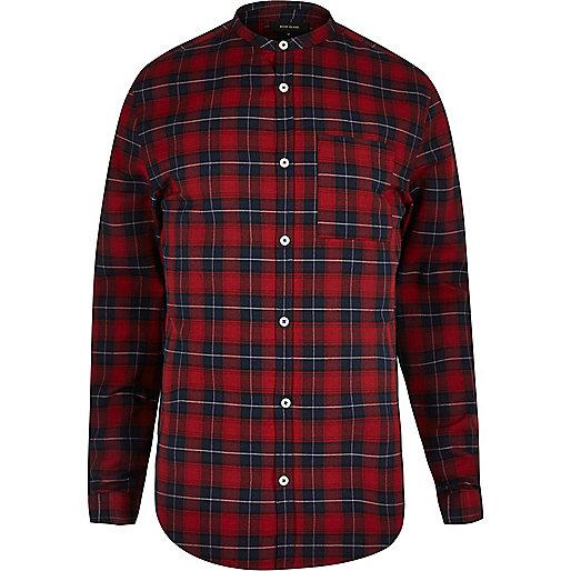 Chemise à carreaux rouge casual cintrée à col officier