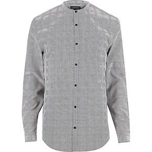 Grey checked slim fit grandad shirt