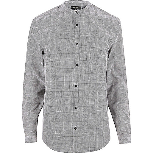 Grey checked slim fit grandad shirt