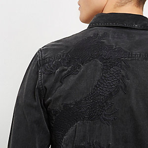 Black casual dragon embroidery denim shirt