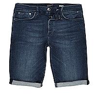 Short en jean bleu foncé délavé coupe skinny