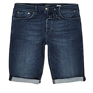 Dark blue wash skinny fit denim shorts