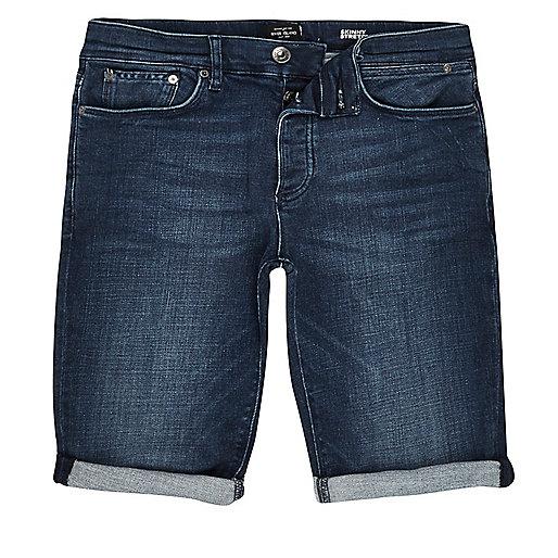 Dark blue wash skinny fit denim shorts