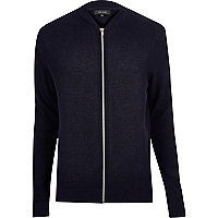 Navy textured knit bomber jacket