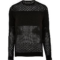 Black mesh knit sweater