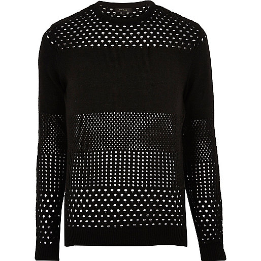Black mesh knit sweater