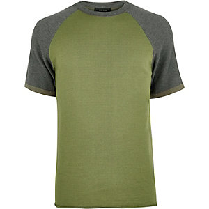 Khaki contrast knitted T-shirt