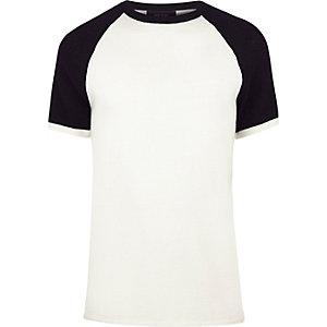 Ecru contrast knitted T-shirt